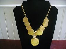 "Vintage Coldwater Creek Goldtone Metal Layered Disk Dangle 19.5""  Bib Necklace"