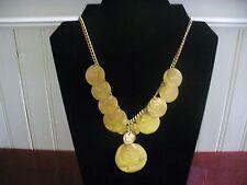 "Vintage Coldwater Creek Goldtone Metal Layered Disk Dangle 19.5""  Bib Necklace"