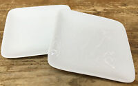 "Crate & Barrel White Square 2 Appetizer Bread Plates 5"" China Rounded Corners"