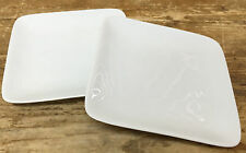 """Crate & Barrel White Square 2 Appetizer Bread Plates 5"""" China Rounded Corners"""