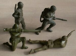 LOT OF 4 1950-60's MARX MPC TIMMEE IDEAL 70 MM US ARMY MEN MILITARY COMBAT POSES