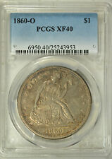 1860 O Seated dollar, PCGS XF40