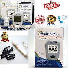 eBwell Blood Glucose Monitoring System Machine Test Strip Meter + 50 strips
