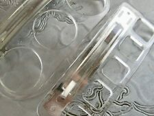 PAIR SET 2 VINTAGE CLEAR ACRYLIC LUCITE SCARF BOW HOLDER BARRETTE CLIPS FRANCE