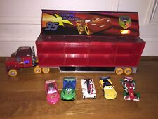"Disney Pixar Cars Carnival Mack Carrier Storage Carry Case sound 23 1/2"" + 5 Car"