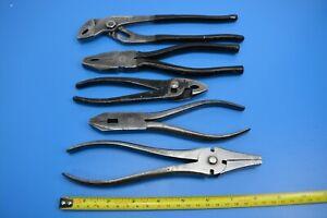 Set of 5 Vintage Pliers. Slip Joint Combination Pliers. Twelis & Co