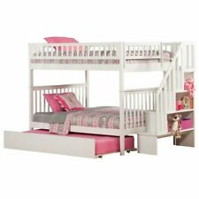 Bowery Hill Solid Wood Staircase Full over Full Bunk Bed with Trundle in White
