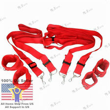 Red BDSM Fetish Restraints Under Bed Cuffs Set Sexual Adult Strap System Sex Toy