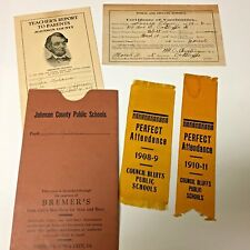 MISC GROUP OF IOWA PUBLIC SCHOOL ITEMS. RIBBONS REPORT CARD