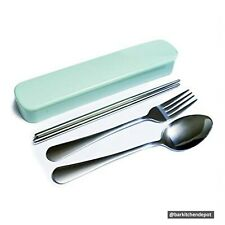 Stainless Spoon, Fork, Chopsticks with Plastic Sliding Case