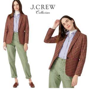 NEW J CREW Parke Scorched Orange Houndstooth Blazer Jacket English Wool Sz 10