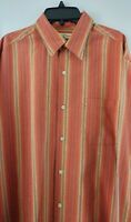 Tommy Bahama Men's Medium 100% Silk Striped Long Sleeve Casual Button Front
