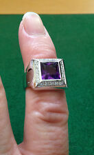NEW 18CT White Gold Amethyst & Diamond Ring D 0.20CTS N1/2 x15