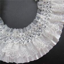 DF08 - DENTELLE PLISSÉE élastique 2 rangs Blanc Nacré ** 8 cm ** Vendu par 50 cm