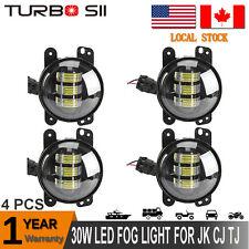 4x 4INCH 30W CREE LED Fog Light Driving Lamp DRL 4WD SUV Jeep Wrangler JK CJ TJ