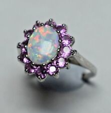 Large Opal & Pink Tourmaline Halo Ballerina Cluster Cocktail Ring Sizable 7.5