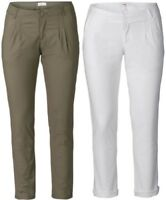 Sheego Damen Chinohose Schmal Stretch Hose Pants White Weiss khaki Cool