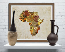 Art African Map Print Decor Geometric Abstract Cubist Picture Painting Design