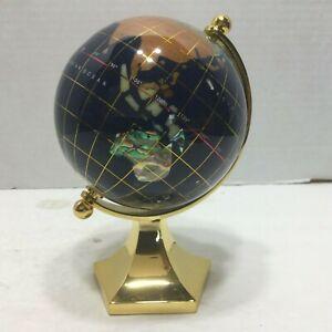 Macheli Inlaid Semi-Precious Gemstone Rotating Tabletop Globe