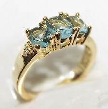 Exkl Herren- Damen- Ring Gold 18 K GP(750) Aquamarin türkis blau Gr 62 Ø 19,7mm