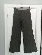 Trinny & Susanah Mix Wool Herringbone Tweed Wide Leg/Flare Trousers UK 10 Long