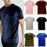 Men Women Velvet Short Sleeve T-Shirt Crew Neck Velour Top Tee Shirt Retro Basic