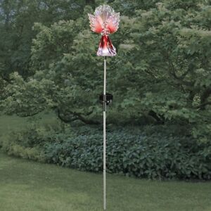 Solar Lighted Red Angel With Fiber Optic Wings Cemetery Memorial Garden Stake