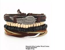 Mens Boy Brown Multi Layer Leather Bracelet Surfer Style With Beads & Angel Wing
