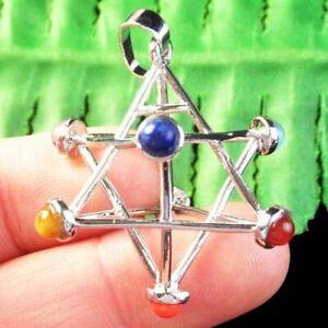 7 Chakra Gemstone Beads Carved Tibetan Silver Star Pendant Bead 36mm