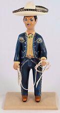 Charro/Horseman Lupita Doll Najaco Ceramic Figurine Blue Mexican Folk Art