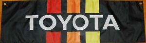 Toyota Flag Garage Mancave Car Mechanic 4wd Black Banner 58X18 In