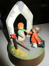 Anri,Italy,Carved Painted Wood Music Box, Plays 'People', Boy Gives Girl Flowers