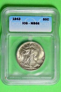 1943 ICG MS66 Walking Liberty Half Dollar #B26668