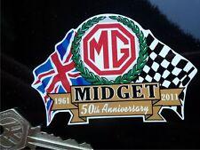 MG MIDGET 50th ANNIVERSARY Flags & Scroll car sticker