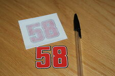 Marco Simoncelli Number 58 Decals (pair)