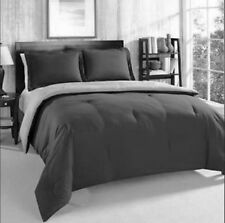 TWIN - Tommy Hilfiger - Black & Gray REVERSIBLE COMFORTER  & SHAM SET