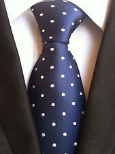 (NT066) Blue Polka Dot Handmade Silk Men Wedding Business Party Formal Neck Tie