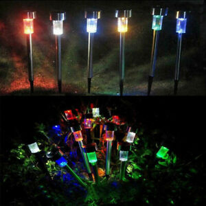 10Pack Stainless Steel Solar Powered Led Post Stake Lights Garden Patio Xmas