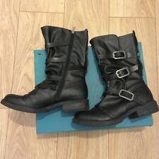 Blowfish Vic Biker Boots Size 6 UK 39 EU 8.5 US Black Alamo Calf Length Buckles