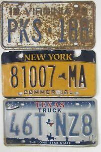 3 ROAD KILL licence/number plates USA TEXAS NEW YORK VIRGINIA Lot B5