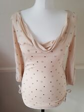 Jasper Conran Women's Ladies Cowl Neck Peach Embellished Summer Top UK Size 8