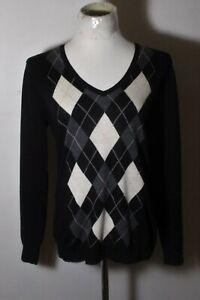 Women's UNI QLO Black Thin 100% Merino Wool V-Neck Sweater Size XL