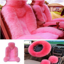 Pink Wool Front Seat Covers+Long Plush Fur Steering Wheel Cover Winter Essential