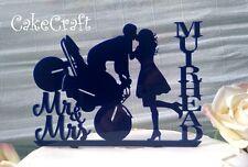 Navy Blue Acrylic Motorbike Mr & Mrs  Wedding,anniversary cake topper decoration
