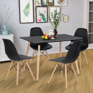 Black Contemporary Rectangular Dining Table With Wood Leg Breakfast Kitchen