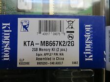 KTA-MB667K2/2G Kingston 2GB Memory Kit DDR2 2x1GB Apple iMac MacBook Pro LOT (6)