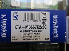 KTA-MB667K2/2G Kingston 2GB Memory Kit DDR2 2x1GB Apple iMac MacBook Pro LOT (6)