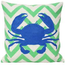 Paoletti Malibu Crab Appliqued Cushion Cover, Mint/Blue, 45 x 45 Cm