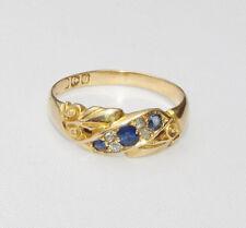 VECCHIO Antico Periodo edoardiano 18ct Oro Diamante Zaffiro Anello Taglia N 1/2 - o 1901-02