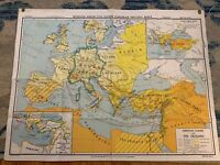 """Hanging Map 49""""X38"""" A.J. Nystrom Johnston-Nystrom Christian Europe Crusades"""